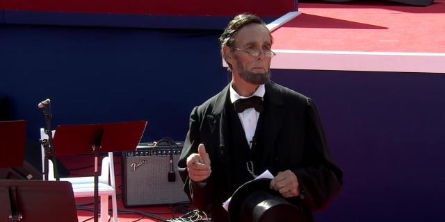 Trump Rushmore Shop Teacher as Lincoln uncredited photo via Twitter - Edited