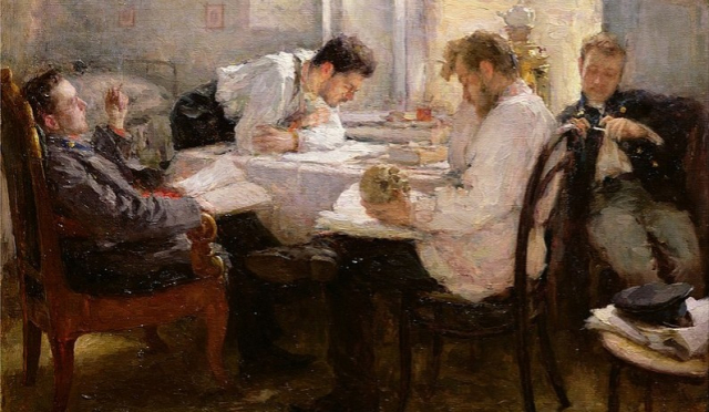 Poets and Writers Pasternak Painting The Night Before the Exam Leonid Pasternak 1895 Musee d Orsay via Wikipedia - Edited
