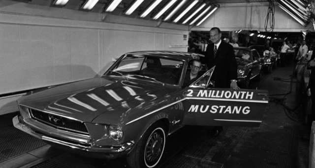 Movies and TV Ford v Ferrari Lee Iococca with 2 millionth Mustang 1968 Ford Photo via Automotive News - Edited