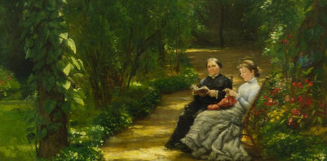 Paintings GPHA Healy detail Healy Gardens w Louisa and Edith 1877 Christchurch Art Gallery New Zealand