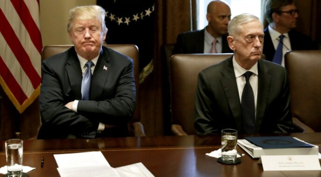 Trump Nothing left to say to each other Trump Mattis Cabinet meeting 6 21 18 Yuri Gripas Bloomberg via WAPO - Edited