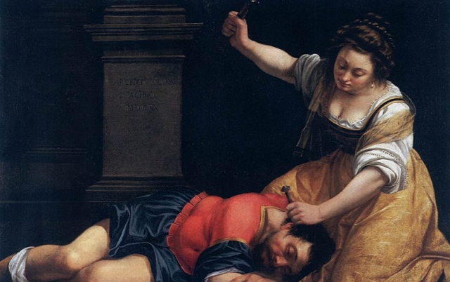 Painting Bible Artemisia Gentileschi Jael and Sisera c 1620Museum of Fine Arts Budapest via Wikipedia  - Edited