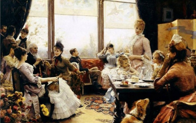Paintings JB Stewart detail Five o clock tea 1884 Victorian Society in America FB