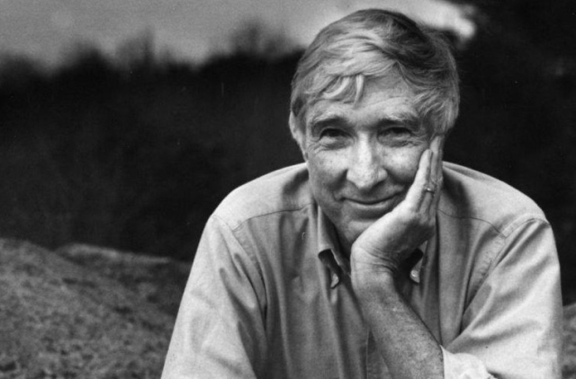 Writers and Poets John Updike looking mischievous - Edited