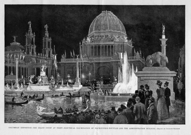 Columbian Exposition Grand Court at Night Drawing by Charles Graham 1893 via Chicagology