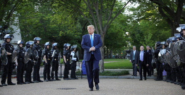 Trump Triumphant 2 Marching bravely through Lafayette Square June 1 2020 Tom Brenner Reuters via MSNBC