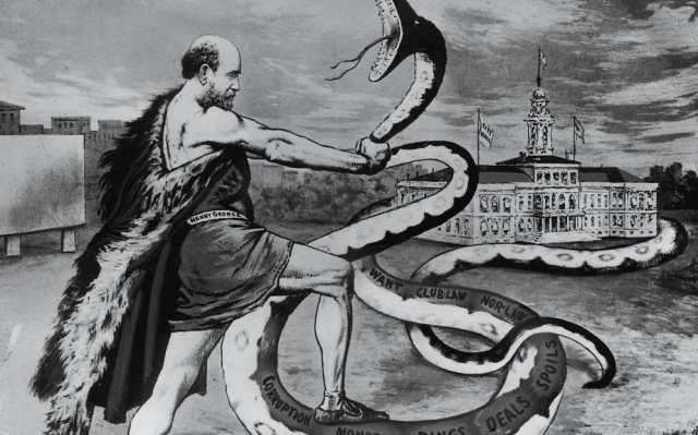 TR 1886 NYC mayoral race cartoon Henry George strangles the snake of corruption 1886 via Wikipedia (3)