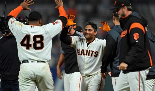 Baseball MLB Giants Giants celebrate beating the Mets in 16 July 18 2019 Jose CarlosFarjardo  Bay Area News Group via Mercury News (2)