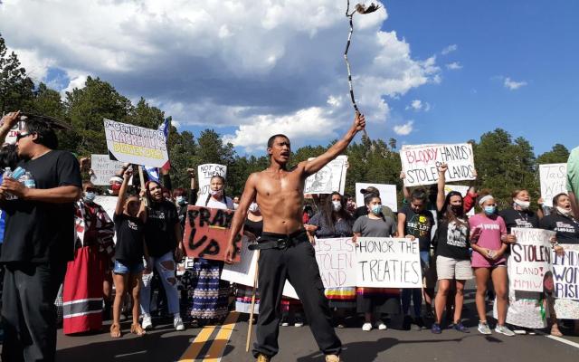 Trump Honor the Treaties protesters Mt Rushmore event Jeremy Fugleberg via Grand Forks Herald