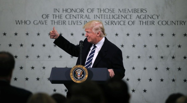 Trump Thumbs up at CIA HQ Jan 21 2017 Carlos Barria Reuters Anchorage Daily News - Edited