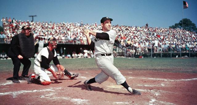 Baseball MLB AL Yankees Yogi Berra at bat in a spring trainging game via Yogi Berra Museum - Edited