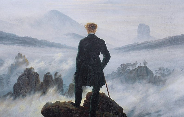 Painting Romanticism Wanderer above the sea of fog detail Caspar David Friedrich circa 1817 Kunsthalle Hamburg via Wikipedia (3)