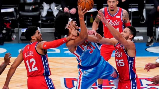 Basketball NBA Nets 2021 01 07 Nets 122 76ers 109 Jarrett Allen takes it to the hoop  AP Photo Frank Franklin II (2)