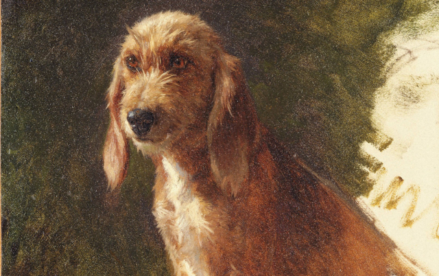 Painting Rosa Bonheur Study of a Dog detail possibly 1860s via Wikipedia