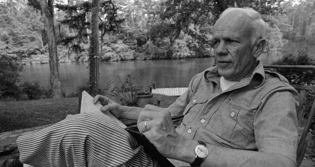 Writers and Poets Walker Percy in his favorite place to write his backyard