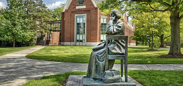 Science and Medicine Elizabeth Blackwell statue on HWS campus HWS