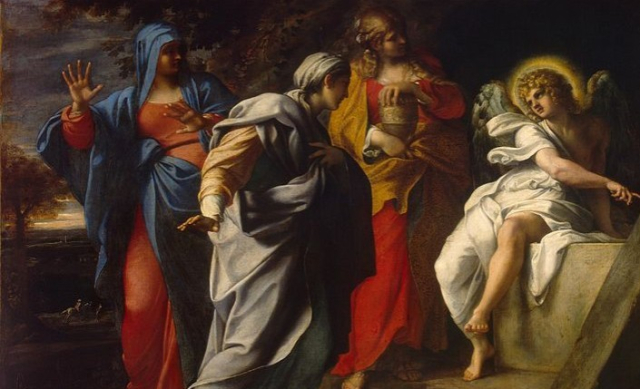Painting Bible Holy Women at Christs tomb Annabile Carracci 1590s Hermitage via Wikipedia - Edited (1)