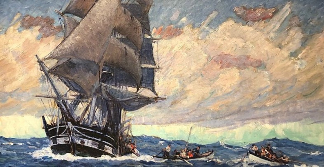 Poets and Writers Doyle Lowering Boats detail CW Ashley 1927 New Bedford Whaling Museum via Wikimedia (3)