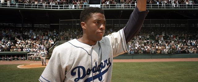 Movies and TV 42 Chadwick Boseman as Jackie Robinson