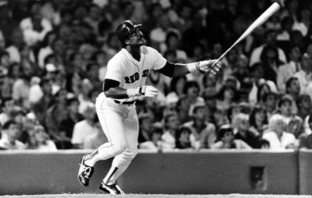 Baseball MLB AL Red Sox Jim Ed Rice watching one go out HOF - Edited