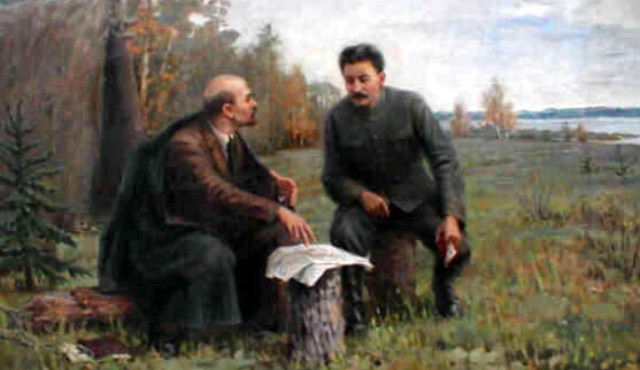 History Lenin Painting Lenin and Stalin in the Summer of 1917 Ivan Vladimirov via Wikiart - Edited