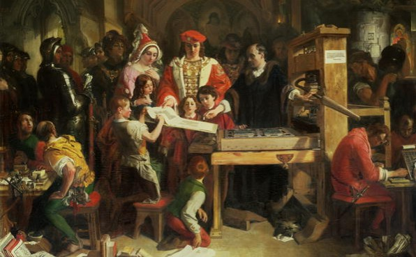 Painting History Daniel McLise Caxton showing Printing Press to Edward IV 1851 Wikipedia - Edited
