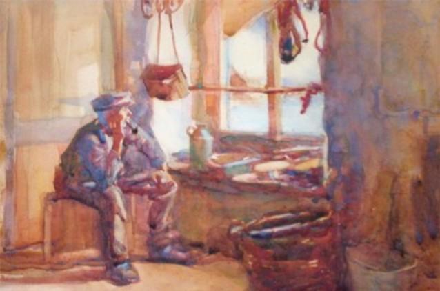 Painting Owen Merton St Ives Cornwall cir 1910 via Thomas Merton Center - Edited