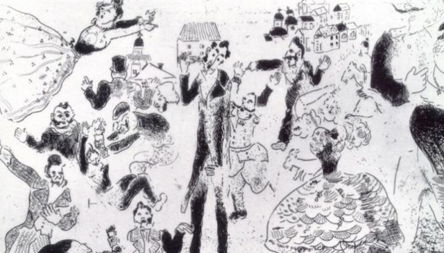 Poets and Writers Gogol Dead Souls detail illustration by Chagall Banquet degenerates into a brawl wikiart