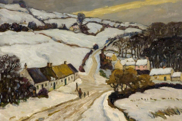 Painting Winter Above Ligoniel detail Frederick W Hall Ulster Museum National Museums Northern Ireland via ArtUK