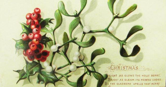 Holly Traditional Christmas card circa 1880 Wikipedia - Edited