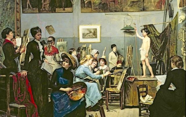Painting Marie Bashkirtseff In the Studio 1881 Dnipro State Art Museum Ukrainevia Wikipedia - Edited