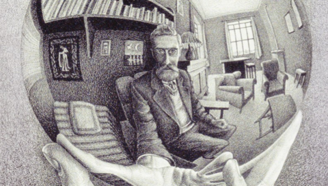 Painting M C Escher lithograph hand with refecting sphere MC Escher com via Wikipedia - Edited