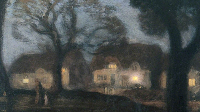 Painting Sir George Clausen The Village Green at Night Detail via ArtUK - Edited