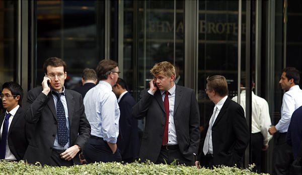 Lehman Brothers Workers outside London HQ September 2008 Kirsty Wigglesworth AP via Desert News
